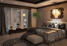 Det moderne soveværelse indeholder en elevationsseng